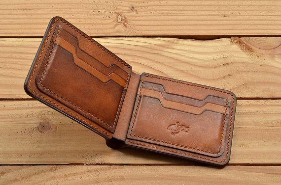 Hand-genäht, Leder Geldbörse, Herren Portemonnaie, Vintage Geldbörse, kurze Brieftasche, Vegtan Brieftasche, pflanzlichem gegerbtem Leder, Portemonnaie zu personalisieren