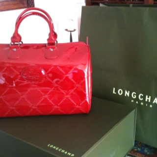 My red vernis Longchamp LM vintage bowling bag (2010 Christmas present)!
