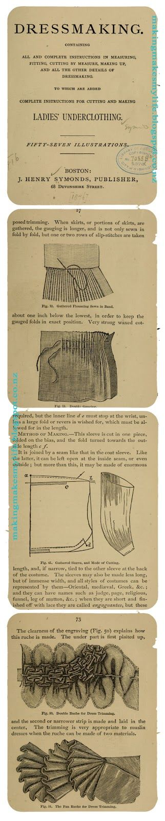 Guide to dress making by J Henry Symonds is a must-have for anyone interested in Victorian sewing techniques. Published in 1876 it's available FREE to download