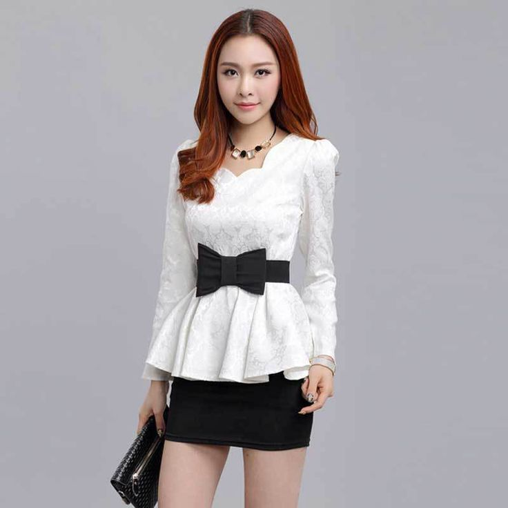 ==> [Free Shipping] Buy Best 2015 Autumn Winter Korean Fashion White / Black Long Sleeve Lace Tops Women Casual Tunic Shirt Ladies Elegant Peplum Tops JN013 Online with LOWEST Price | 32576592735
