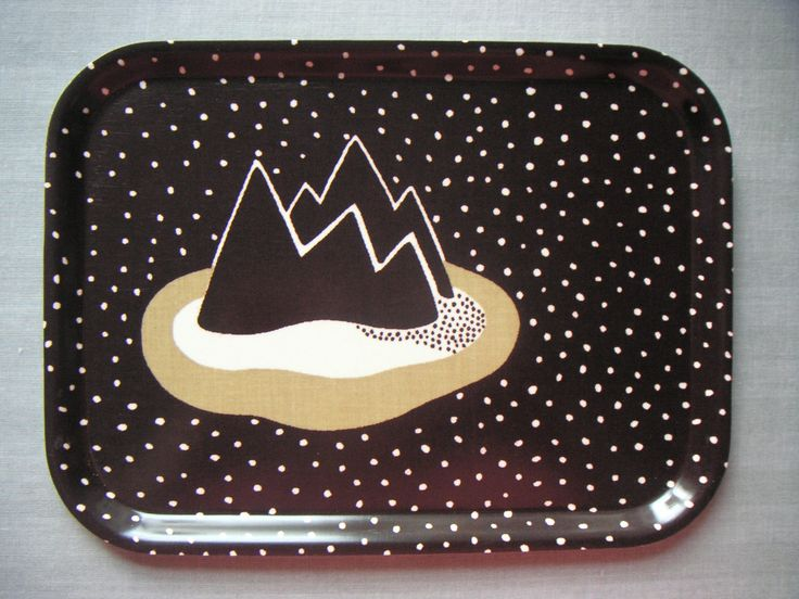 Birchwood tray with fabric designed by GUNILA AXÉN, Ön (The Iland). Produced by  Tio-Gruppen in 1970s.