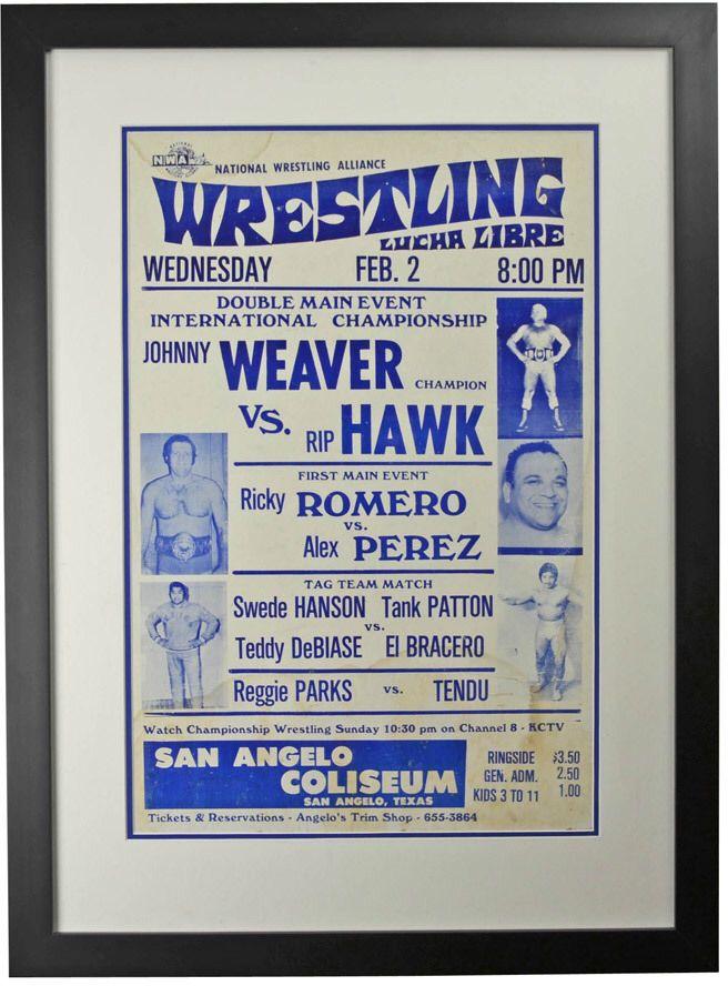 Framed Lucha Libre Wrestling Poster Weaver v Hawk