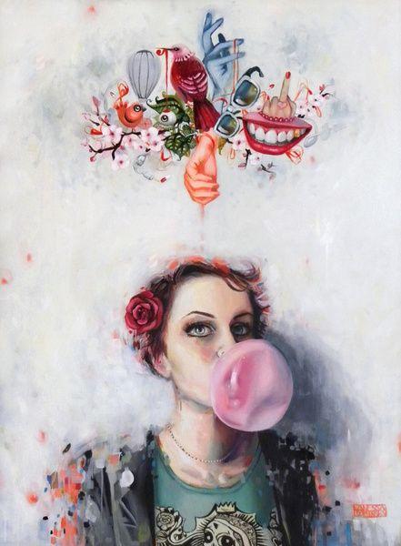 Selfportrait by Vanessa DakinskyArtists, Selfportrait Art, Self Portraits, Illustration, Saatchi Online, Bubbles Gum, Art Prints, Art Painting, Vanessa Dakinski