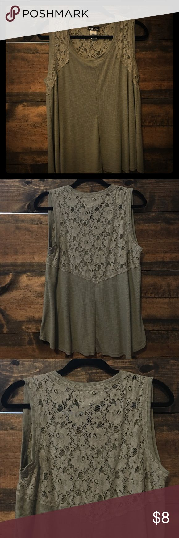 Army green tank top Worn once army light army green tank top with lace detail. You can see thru the lace detailing. Size large. Wet Seal Tops Tank Tops
