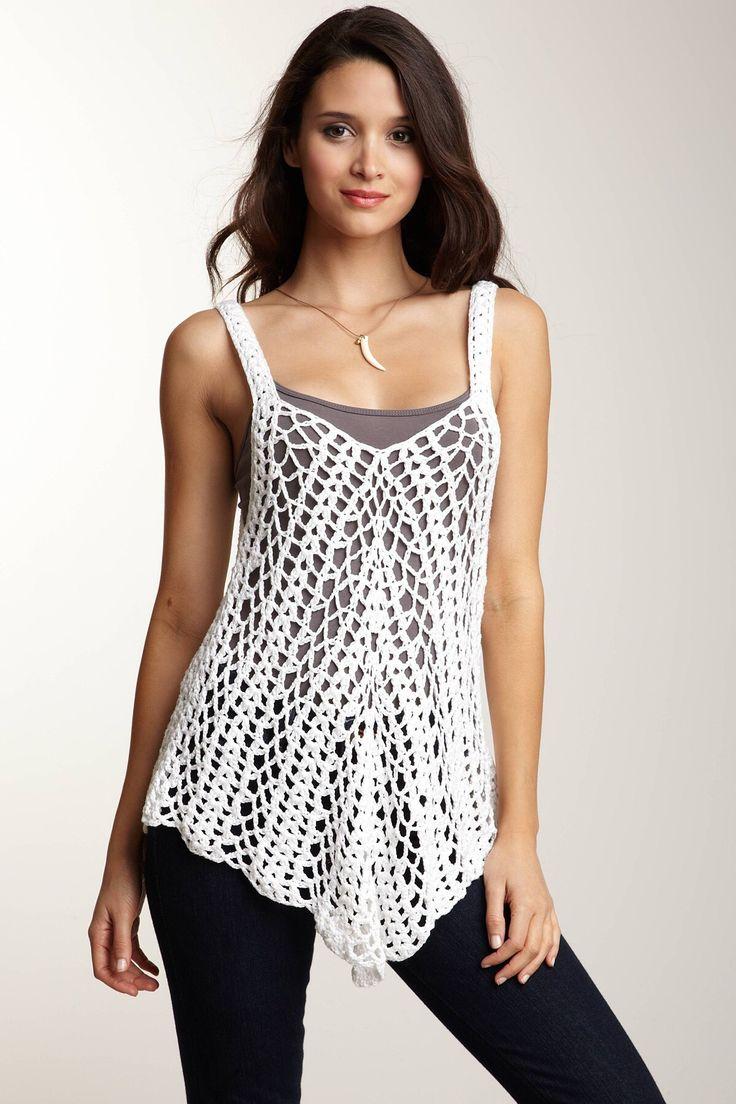 Free Crochet Pattern Boho Top : Blusa croch? alca Croch? Pinterest