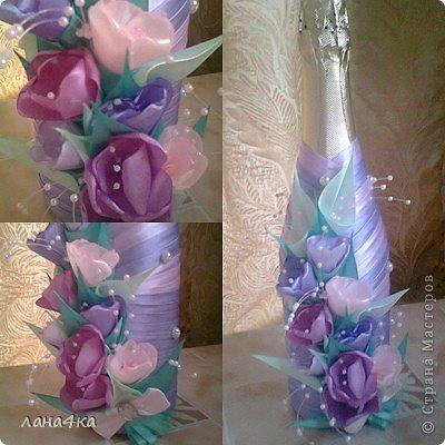 Поделка изделие 8 марта Цумами Канзаши украшение бутылок Ленты фото 6