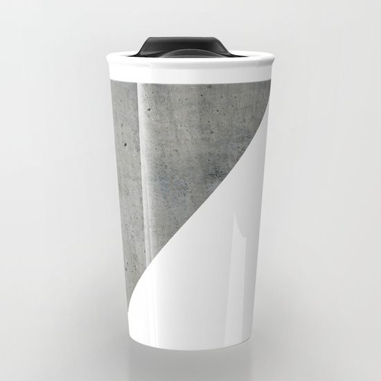 """Concrete Vs White Travel Mug by ARTbyJWP via Society6 #mugs #travelmug #coffeemug #grayandwhite #concrete -  Take your coffee to go with a personalized ceramic travel mug.  Double-walled with a press-in suction lid, the two-piece (12oz) design ensures long lasting temperatures while minimizing the risk of spillage from kitchen to car to office. Standing at just over 6"""" tall with wrap around artwork, safely sip hot or cold beverages from this one of a kind mug."""
