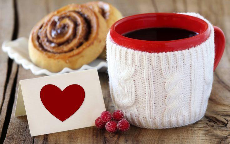 чашка, кофе, любовь, сердце, десерт