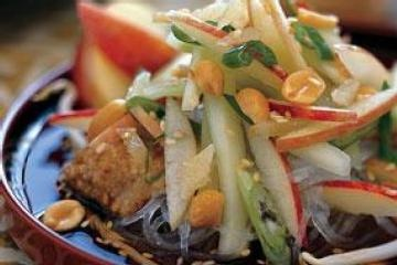 Cold Sesame Noodles with Crisp Apples and Cucumber