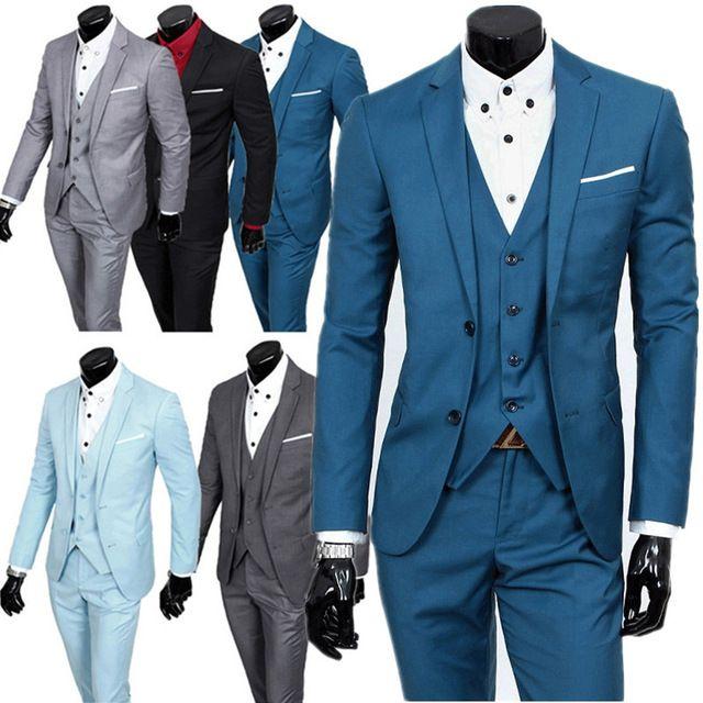 2016 новый бутик модной одежды мужчин костюм устанавливает/мужская две кнопки Пиджаки костюм + жилет + пиджак брюки
