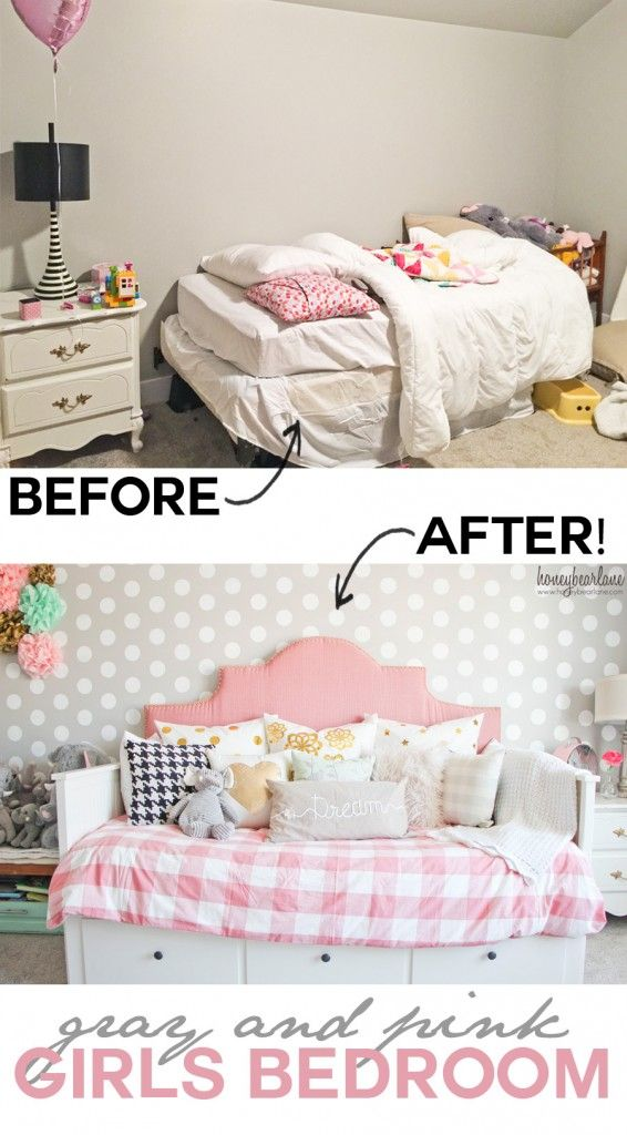 Before And After Pink and Gray Girl's Bedroom - this design and decor is so beautiful! #bhglivebetter @BHGlivebetter