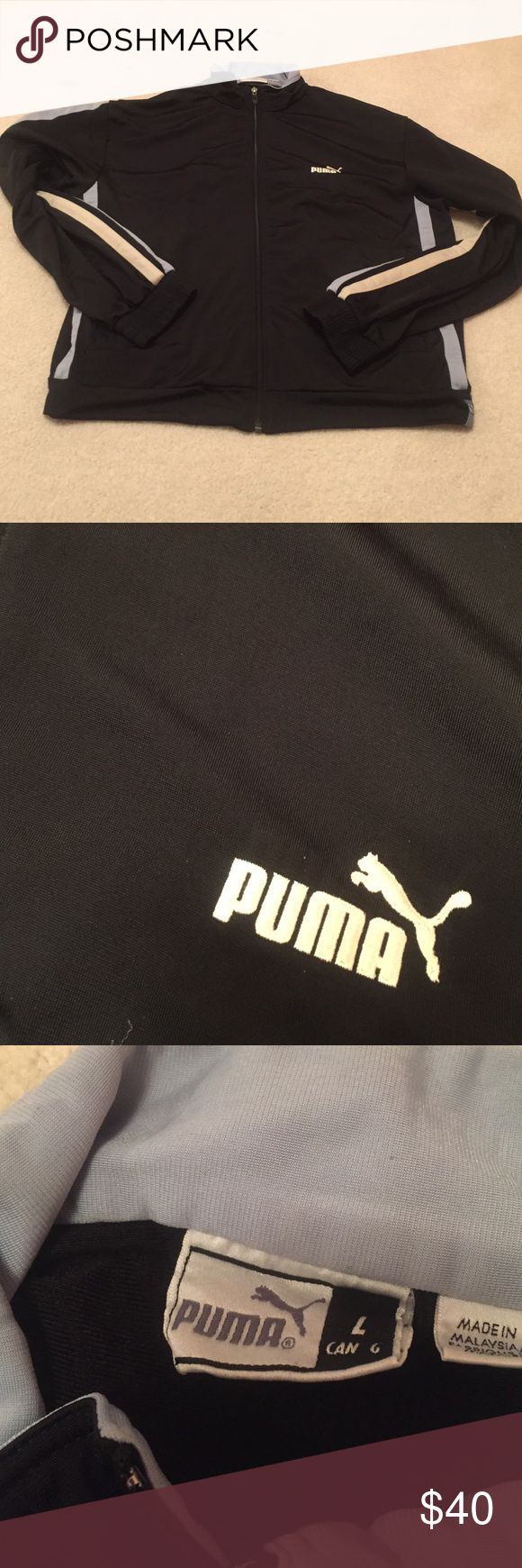 Men's Puma track jacket Full zip! Black with white and light blue stripes along arms. Light blue collar. Super soft! Matching pants are available if you want the full set, but are not currently listed on website. Inquire within if pants are desired! Puma Jackets & Coats