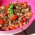 Salades de lentilles vertes aux noix et vinaigrette balsamique