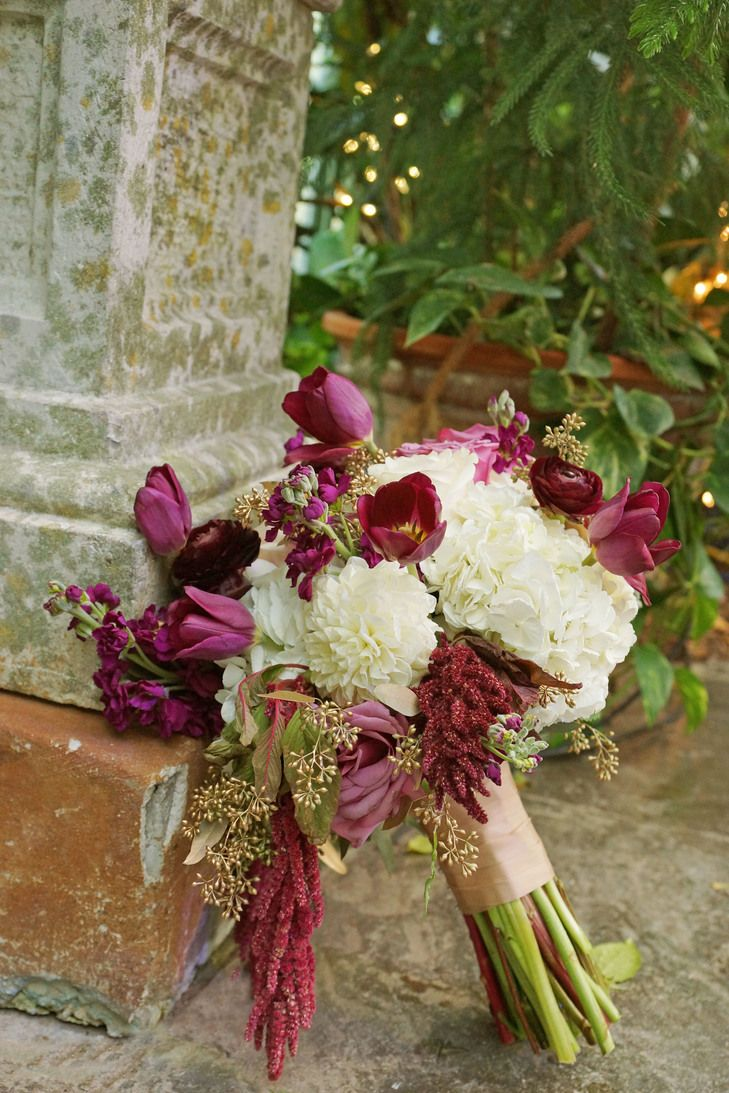 Burgundy and Ivory Whimsical Bridal Bouquet | Photo:Amber Shaw Photography | Bouquet: Studio Stems |