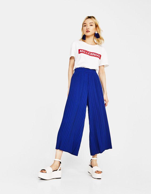 Culotte Plisado Pantalones Chinos Mujer Ropa Pantalones