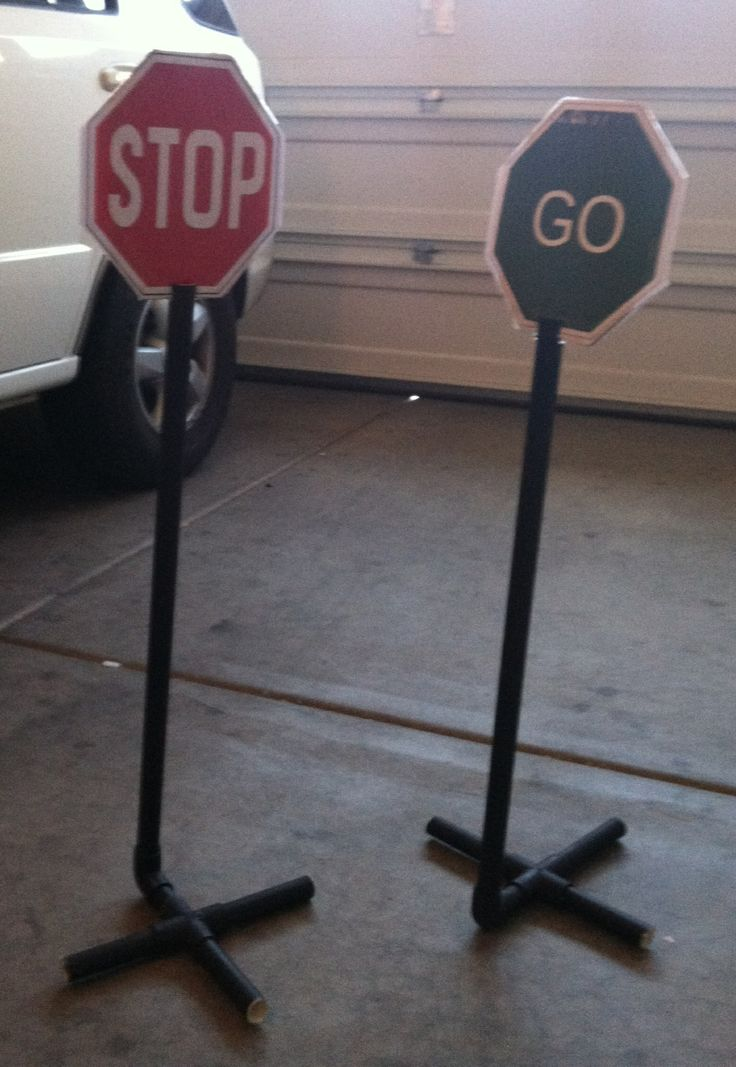 Signs for bike play outside made out of pvc pipe print