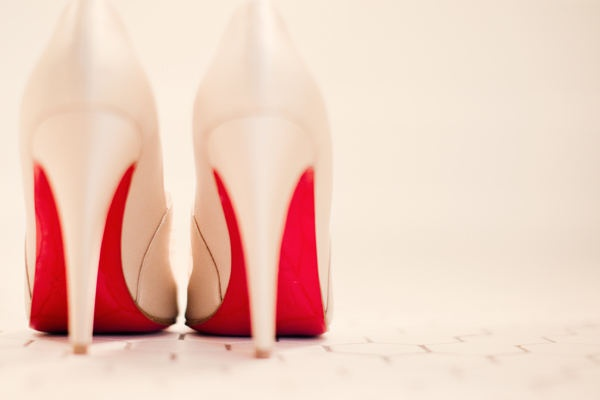 Wedding shoes with red soles