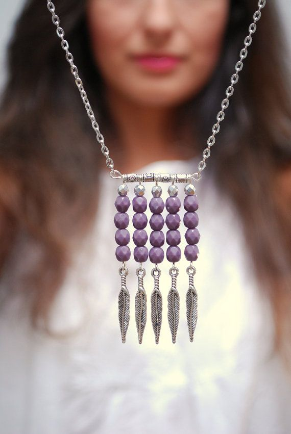 Boho tribal necklace Purple beads necklace Tribal by Estibela