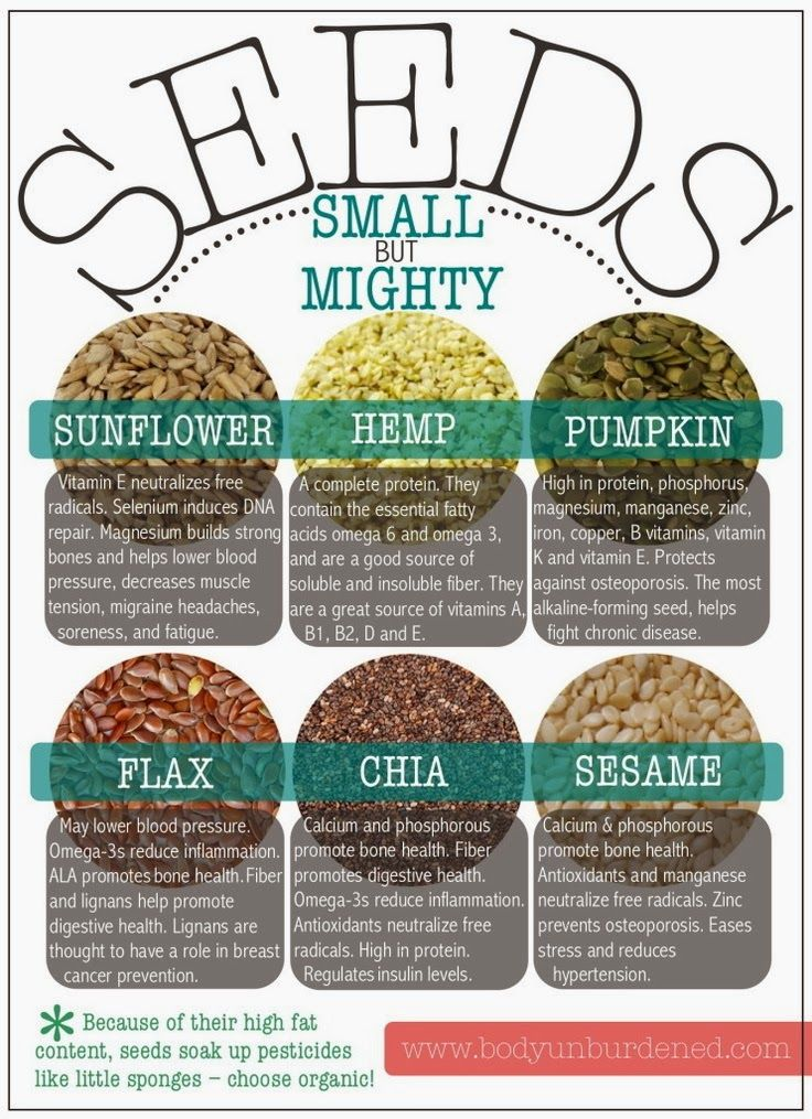 Health benefits of seeds. Choose organic, seeds can soak up pesticides because of their high fat content.