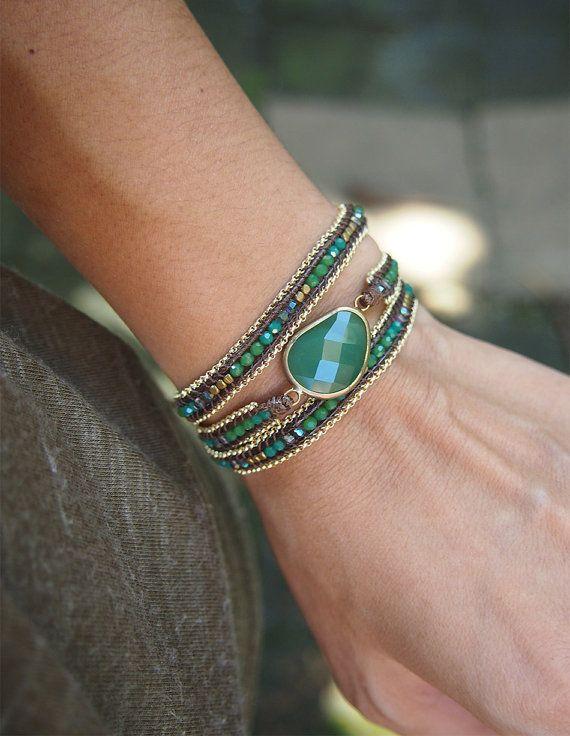 Green mix wrap bracelet with chain, Boho bracelet, Bohemian bracelet, Beadwork bracelet