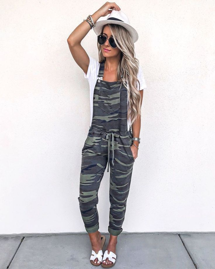 Slim-Fit Straight Strap With Camouflage Jumpsuit 1