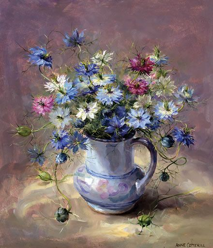 """Love-in-a-Mist in a Blue Jug"" ~ Oil Painting by Anne Cotterill ...."