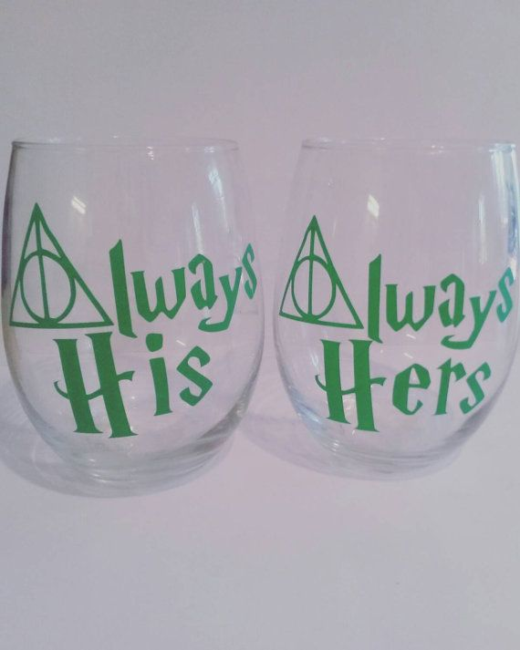 Always his and her glasses Harry Potter wine by KristenMarieFurr
