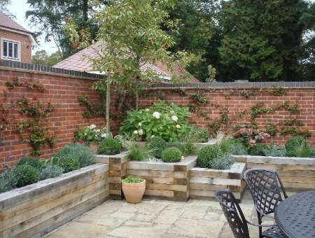 Garden - raised beds along brick walls