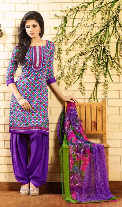 USD 49.62 Purple Pashmina Printed Patiala Salwar Kameez   39515