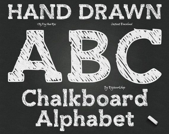 "#Chalkboard Alphabet Clip Art: ""Chalk Alphabet"" digital hand drawn #clipart with chalk letters, font, chalkboard letters and numbers  This Alphabet Clip Art contains 76 diffe... #etsy #digiworkshop #scrapbooking #illustration #creative #printables #cardmaking"