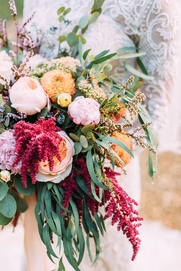 bouquet with amaranthus accents - photo by Cara Robbins Photography http://ruffledblog.com/floral-inspired-treehouse-wedding