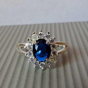 кольцо принцессы Дианы из серебра 925 пробы, сапфира и фианитов