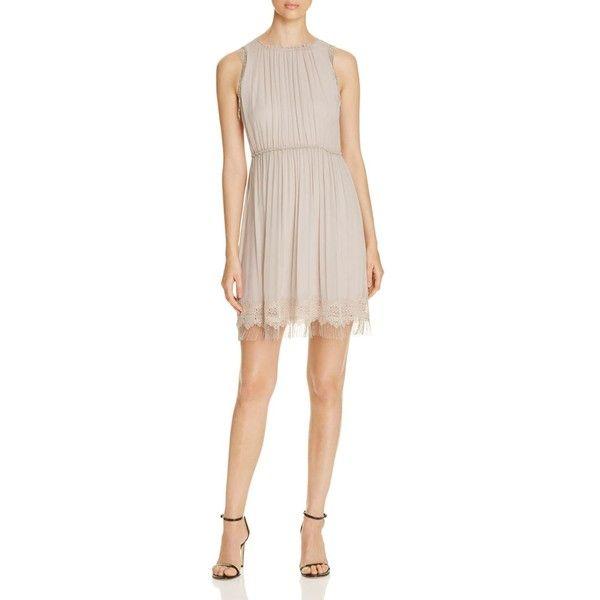 Elie Tahari Demetria Silk Dress ($265) ❤ liked on Polyvore featuring dresses, bamboo, silk dress, elie tahari, chain dresses, pink silk dress and elie tahari dresses