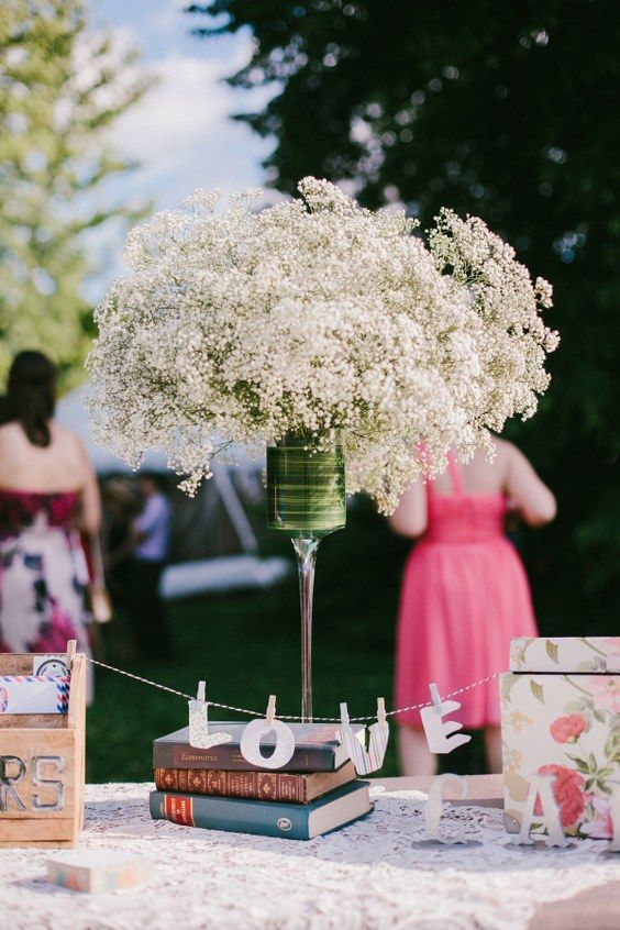 vintage baby's breath wedding centerpiece / http://www.himisspuff.com/rustic-babys-breath-wedding-ideas/6/