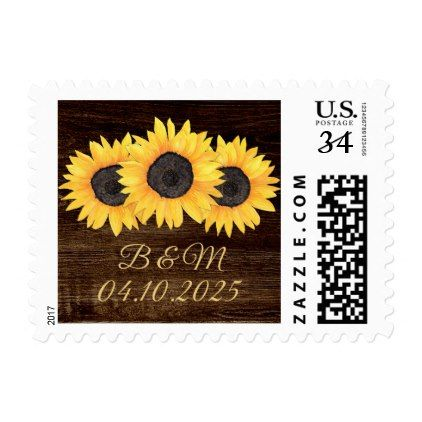 Watercolor Country Sunflowers Postcard Postage - country wedding gifts marriage love couples diy customize