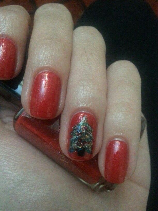 Christmas tree nails - Avon Ruby Slippers nail polish