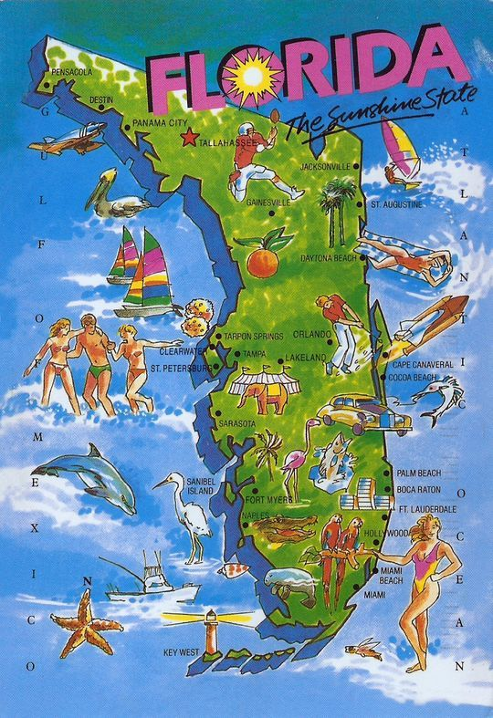 Coco Beach Florida Map.Florida Map Illustrated Special Trade In 2019 Florida Things