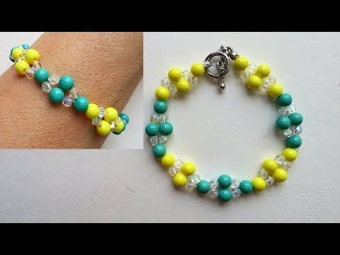 Beading pattern for beginners. How too make a beautiful bracelet for kids - YouTube