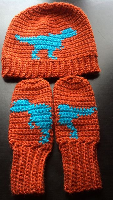 Ravelry: Project Gallery for T. Rex Hat and Mitts pattern by April Garwood