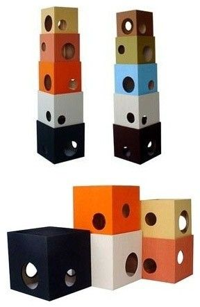 A new spin on the ugly carpeted kitty condo! My hubby and son could make this!