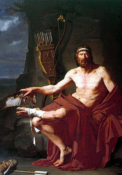 Óleo en lienzo de Jean-Germain Drouais (1763 - 1788): Filoctetes en la isla de Lemnos. 1738.