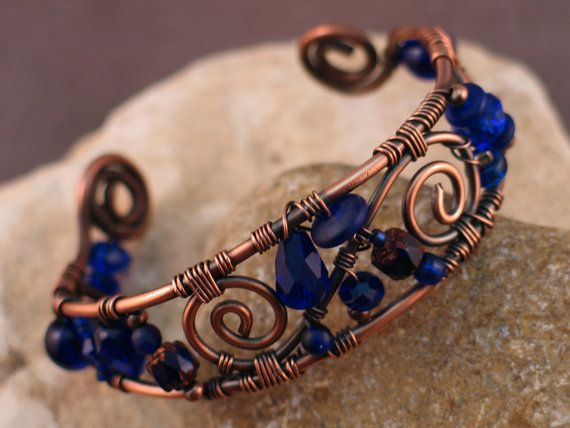 Wire Wrapped Copper and Cobalt Blue Bracelet by EvolutionaryBeauty,