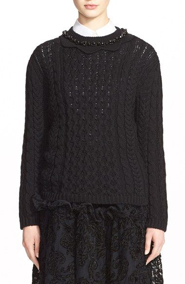 F SIMONE ROCHA Cable Knit Sweater with Jeweled Neckline
