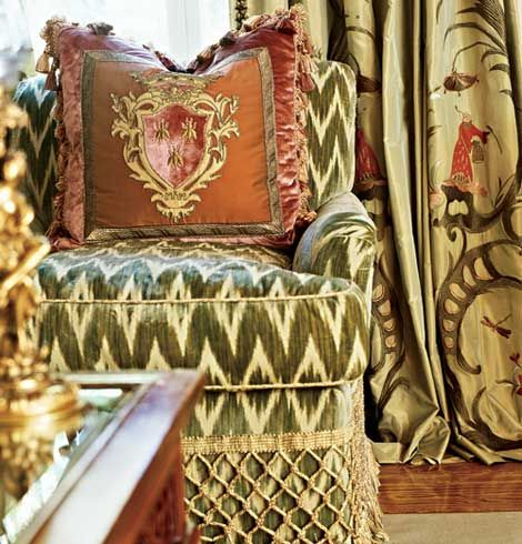 Flame-stitch fabrics and crest motif pillow sitting pretty with the Bullion fringe.  Photo: Edmund BarrSidney Poitier, Decor Ideas, Chairs, Joanna Poitier, Interiors Design, Pattern Mixed, Colors Combinations, Traditional Home, Decor Pillows