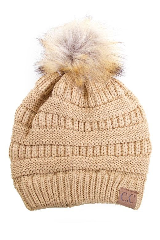 Our Best Selling beanie is BACK!!! The must have beanie of the season!! Knit hat with faux fur pom pom. - Imported - FREE SHIPPING
