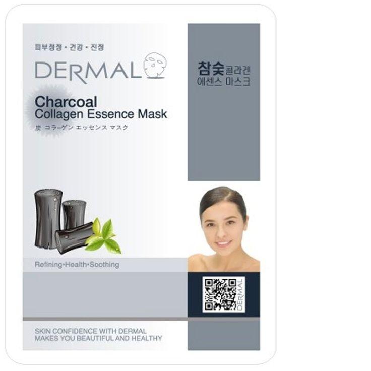 Dermal Korea Collagen Essence Full Face Facial Mask Sheet - Charcoal (10 Pack) *** Click image for more details. (Amazon affiliate link)