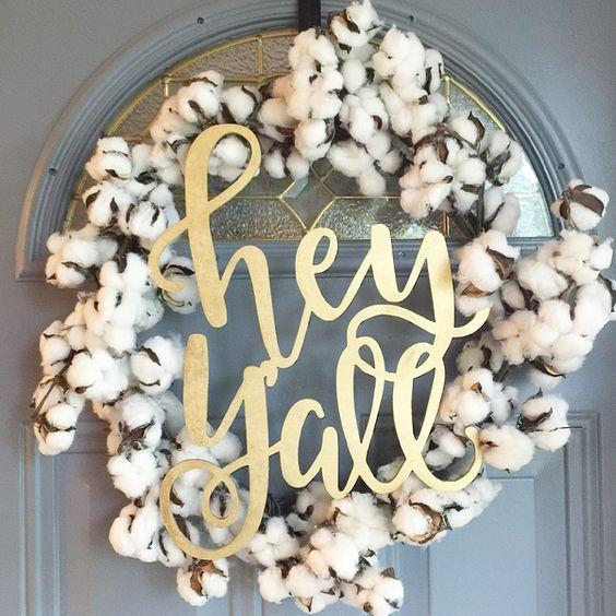 DIY projects - Fall Wreath Idea Hey Yall Cotton Wreath with Word Art Idea via Winnie Jean