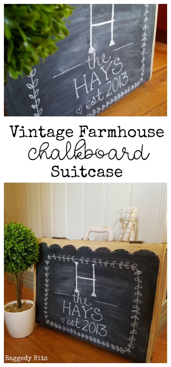 Give an old vintage suitcase a new lease on life. Vintage Farmhouse Chalkboard…