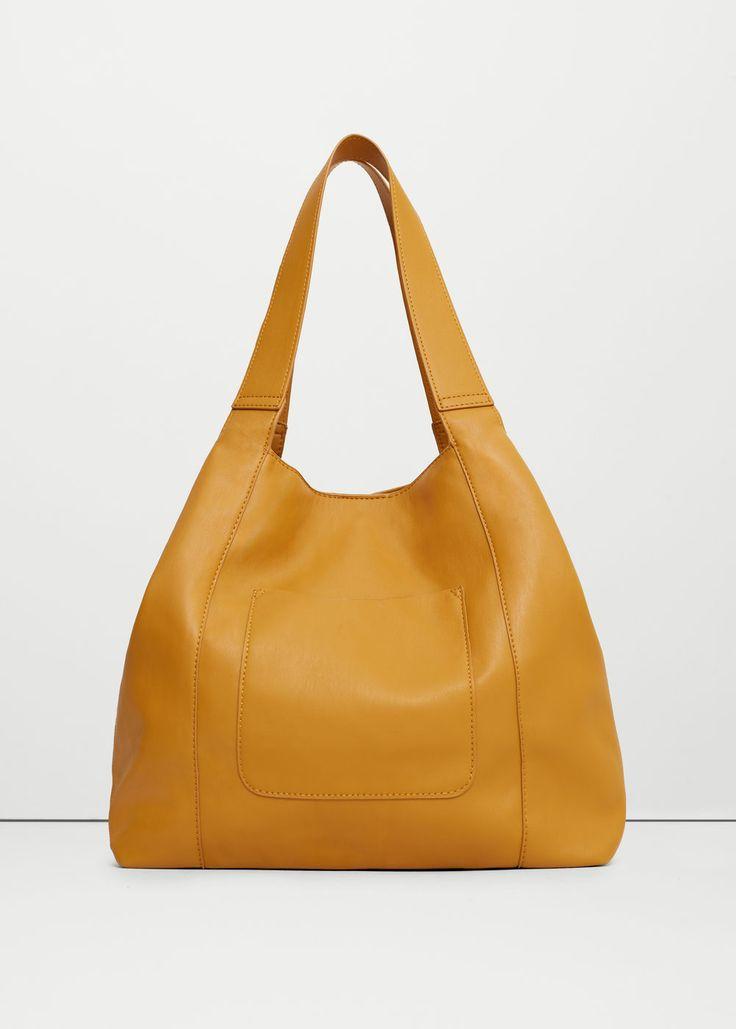 Hobotas met zak | MANGO Hobo bag mustard yellow