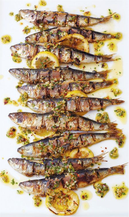 Portuguese Grilled Sardines with Charred Lemon, Herbs & Chilli - absolutely delicious